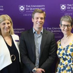 Pictured from left: Professor Bronwyn Harch Deputy Vice-Chancellor (Research, The University of Queensland); Member for Ryan Julian Simmonds MP; Professor Janeen Baxter.